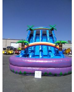 20' Triple Lane Paradise Wet/Dry Slide - 18404