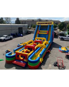 24' Vertical Rush Wet/Dry Slide with Slip n Dips and 7 Element Obstacle - 19519