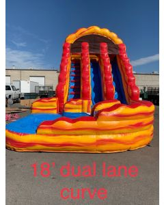 18ft Lava Dual Lane Curve Wet/Dry slide